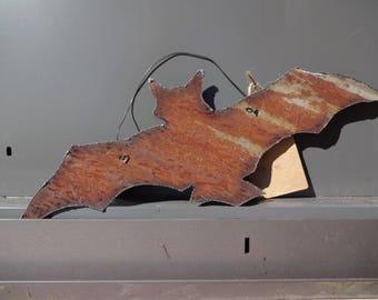 Rustic Repurposed Vintage Barn Tin Flying Halloween Bat