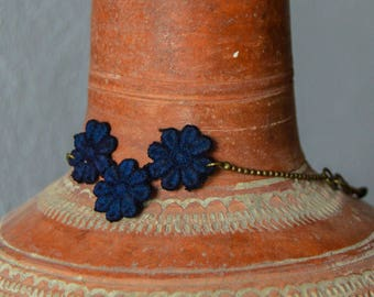 Blue flower lace bracelet