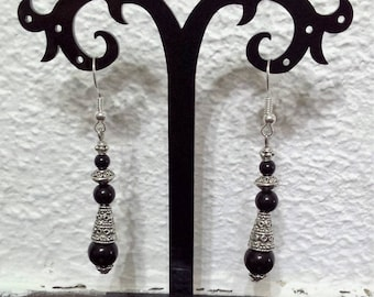 Black onyx earrings Tibetan