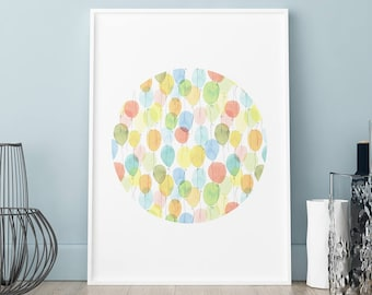 Balloons poster, Painted baby print, Baby cute poster, Child print, Child poster, Wall art, Art Print, Scandinavian print, baby room print
