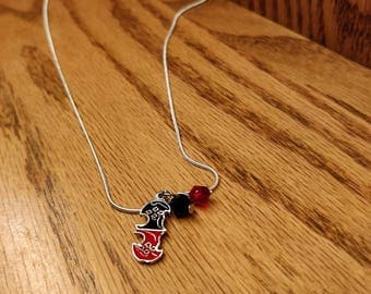 Harley Quinn inspired charm necklace with 20in sterling silver chain.