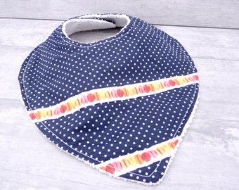 Baby bib bandana bib baby bandana bib is handmade baby bib triangle, anti-bavouille-0/12 months-Blue Navy.