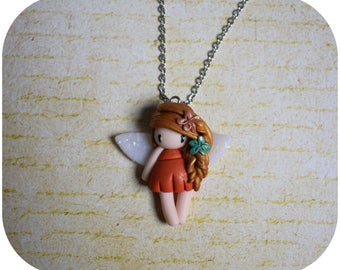 "Necklace ""golden hair, orange dress"" little girl (collection fee)"