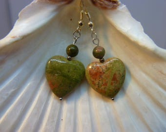 Genuine unakite heart earrings