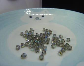 Set of 65 beads - Black DIAMOND AB - 4 mm SWAROVSKI