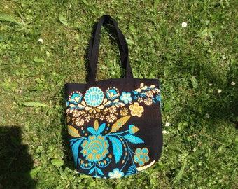 Dark blue tote bag couture