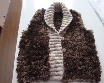 Vest without sleeves soft and very warm fur knitted Brown 12