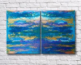 "RoR #9 Colorful Metallic w/ Texture Acrylic Rorschach Wall Art Twin Canvas Set (12"" x 16"" each   total 24"" x 16"")"