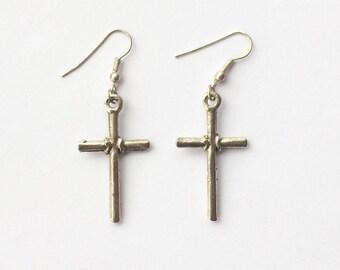 Vintage 1980's Crucifix Dangle Drop Statement Earrings