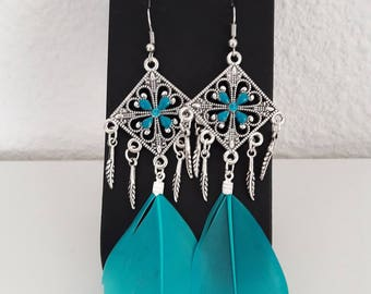 Earrings silver and blue