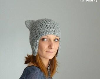 Bonnet péruvien Chat gris pour adulte / Tuque crochet bonnet homme femme alpaga oreilles chat peruvien cache oreille chat animal cadeau