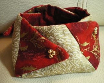 Little Christmas red and gold fabric purse