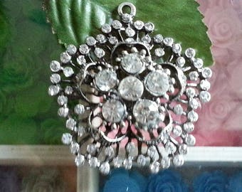Alloy pendants antique silver flower rhinestone, Crystal, 54x50x13.5 mm, hole: 2 mm
