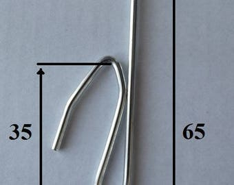 Steel nickel-plated to insert curtain hooks size 65mm, 35 mm low - set of 15 units branch