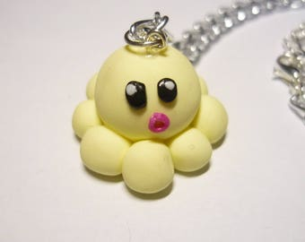 NECKLACE - Octopus kawaii pastel yellow clay
