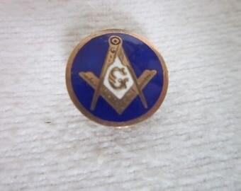 Antique Masonic Blue & White Enameling over Engraved Gold Pinback Super