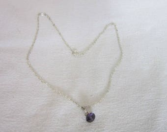 Pretty Silver Tone & Amethyst Cut Crystal Necklace