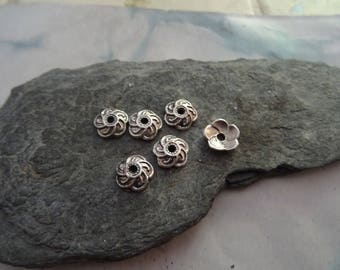 6 cups junction intermediate for 10 and 8 mm silver plated bead Cap