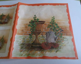 sheet for decoupage, depicting a pot of flowers with Ivy and watering can