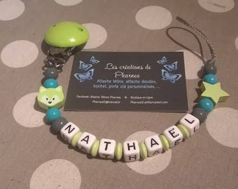 Pacifier lollipop personalized with name Fox cat lime green jade and grey star