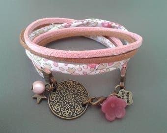 pretty double Medallion bronze bracelet, pastel liberty floral