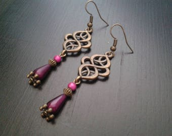 Bronze engraving, ethnic inspired earrings