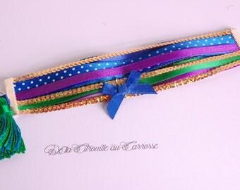 Cuff Bracelet, Peacock colors