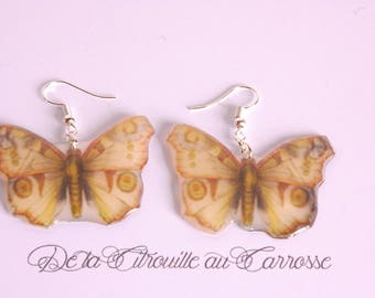 Beige and Brown butterfly earrings