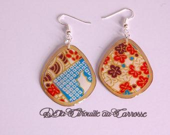 Japanese pattern, colorful earrings