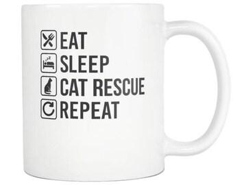 Cat Rescue Mug, Cat Rescue Gift ,Eat Sleep Repeat Coffee Tea Cup