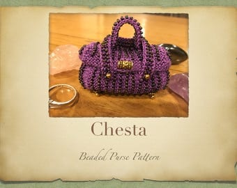 Chesta Beaded Purse PATTERN ONLY Size 11 Seed Beads Knitted Miniture Bags for Tooth Fairy Crystals Jewlery or Purfume pouch
