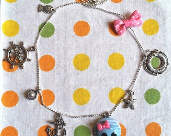 """""""Miss Buccaneer"""" Charms Necklace blue / pink, series """"all aboard!"""""""