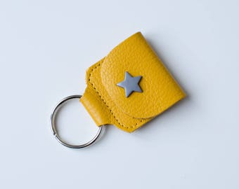 Key chain holder trolley token, leather