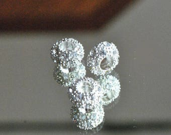 Silver rondelle beads and rhinestones way Pandora