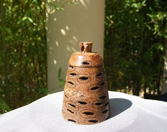 Jewelry box turned by hand in the Banksia nuts
