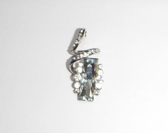 Antique silver pendant and rhinestones