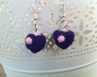 Earrings style macaron heart purple