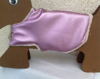 Pink coat glittering for small waterproof(impervious) leather dogs