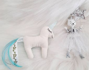 Little Unicorn cat fabric blue and silver glitter