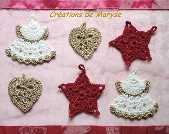 Set of 6 crocheted red, white and gold Christmas ornaments