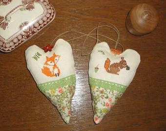 2 animal forest hanging heart pillows embroidered cross stitch embroidery