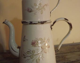 RARE Vintage French Enamel Coffee Pot With Riveted Handles,White,Pink,Coffee Pot,Old,Signed,Kitchen,Rustic,Decor,Roses,Butterflies
