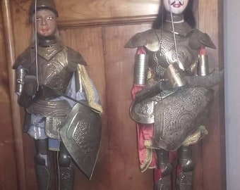 Reserved early pair 1900 Italian marionette puppets.