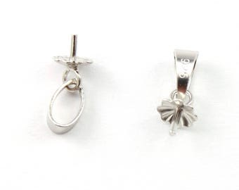 ES-0144 - 925 Sterling Silver Rhodium plated - Set of 2 Pendant Bails for half drilled pearl
