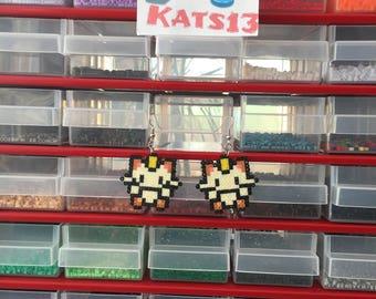 1 pair of earrings, Pokemon Meowth, hama mini beads handmade geek