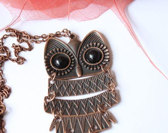 copper articulated OWL necklace