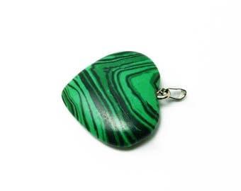 heart pendant made of semi precious stone, malachite