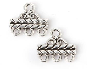 Set of 2 layered 13 * 14 mm silver plated