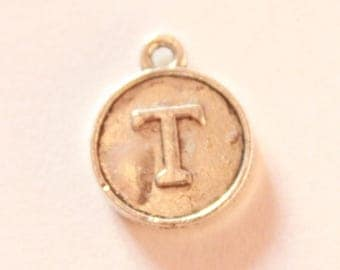 Silver metal charm, letter T, about 15 * 12 * 2 mm