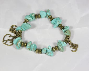 beautiful bracelet lucky turquoise semi-precious stone charm in bronze metal